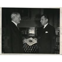 1932 Press Photo Major Max Vivier hands his book to John Pershing in Washington