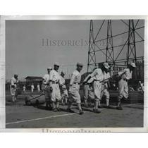 1947 Press Photo Caretakers for Baseball Diamonds Waseda University Tokyo Japan