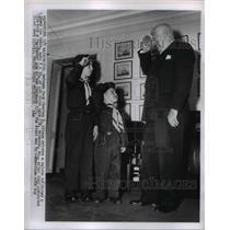 1955 Press Photo Defense Secretary Charles E Wilson Saluting Boy Scouts