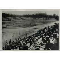 1938 Press Photo Grade School Kids Gymastics at Maiji Shrine Stadium Tokyo Japan