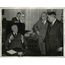 1937 Press Photo of Sen William H. McAdoo, Del. Samuel King, and John H. Wilson