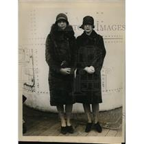 1927 Press Photo Carol Sudler, Polly Merritt sailing three months vacation S.S.