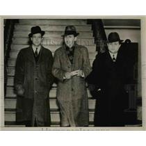 1937 Press Photo Mayor Harold Bradshaw, Richard C. Bradford, Hyman Hoffman
