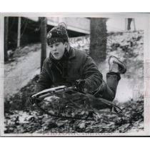 1920 Press Photo Mark Peecook, Slides Behind Bay Village Fire Station Cleveland,