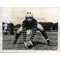 1938 Press Photo Princeton NJ Bruce Alger center at football practice