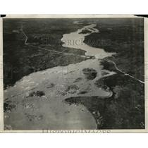1930 Press Photo Hudson Bay Railway from Aerial View & Nelson River - nee56594