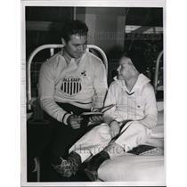1937 Press Photo Al Barbarsky Fordham tackle at Shrine Hospital visit