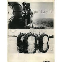 1936 Press Photo Marsh Bugg Vehicles with 10 foot Tires travles over land, water