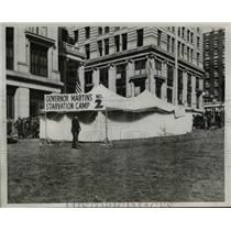 1939 Press Photo Unemployed Starvation Camp Tent During Relief Check Cut