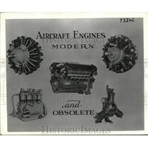 1941 Press Photo Layout of old time and modern aircraft engines
