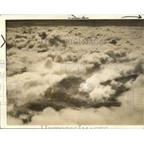 1938 Press Photo Heavy banks of clouds on slopes of Sierra mountains in Fresno