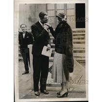1932 Photo English star Betty Nuthall & French tennis star Jean Borotra