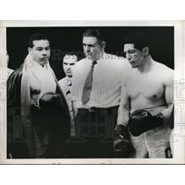 1947 Press Photo Joe Louis after exhibition bout with Arturo Godoy in Santiago