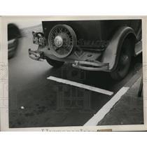 1934 Press Photo White Line Near Fire Plugs - nee62103