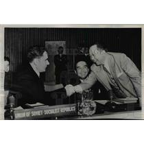 1952 Press Photo Soviet UN Delegate Andrei Gromyko Greets Carlos P. Romulo