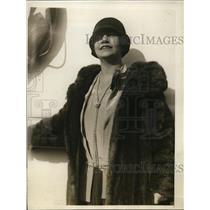 1929 Press Photo Mrs. Eide Norema, Chicago opera singer returnin g to New York.