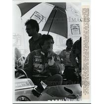 1964 Press Photo Mario Andretti & Budweiser Lola T800 car Cleveland Grand Prix