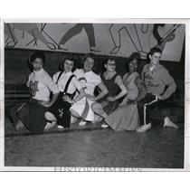 1958 Press Photo Cleveland High School Cheerleading Squad - nee63135