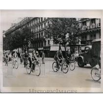 1940 Press Photo Paris France cyclists due to lake of gas for cars - nes30187