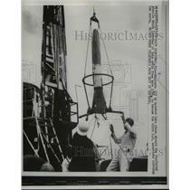 1958 Press Photo Cape Canaveral Florida, Explorer III, Jupiter C Missle