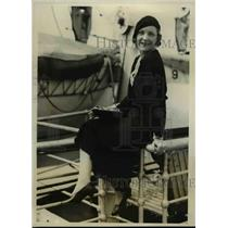 1931 Press Photo Helen Paul aka Mrs Francis noted NY stylist on the ship Bremen