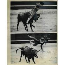 1970 Press Photo Madrid Spain Juan Carlos Castro tossed by a bull - nee75283