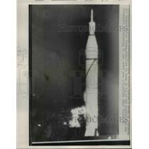 1958 Press Photo Cape Canaveral Fla launch of Jupiter C misslle to orbit