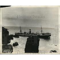 1930 Press Photo View of Ellerman Liner City of Osalo on the Rocks off Buchan Ne