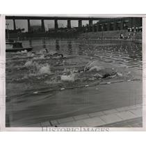 1936 Press Photo Olympic swim tryouts Eleanor Holm Jarrett 100 m backstroke 1:19