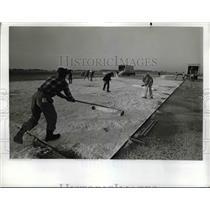 1968 Press Photo Workers Prepare Grooved Runway for NASA Wallops Island Virginia