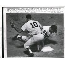 1962 Press Photo Indian Al Luplow slides to 1st vs Senators Harry Bright