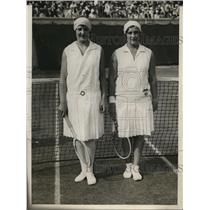 1929 Press Photo Helen Jacobs of US & Betty Nuthall of Britain at Wightman Cup
