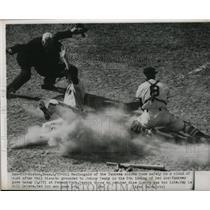 1951 Press Photo Yankee Gil MacDougald slides home safe vs Red Sox Mike Guerra