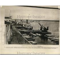 1926 Press Photo Boats and Ships at Portion of Wharf and River at Asuncion