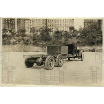 1925 Press Photo Six Wheel Flatbed Truck