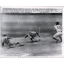 1961 Press Photo Cubs Don Zimmer vs Red Sox Darrel Massey, batter Ed Bouches