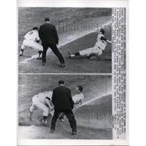 1963 Press Photo Yankee Phil Linz runs for hit of Yogi Berra, SS Tony Kubek