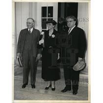 1935 Press Photo Labor Leaders William Green, John L. Lewis, Sec Frances Perkins