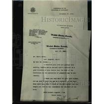 1921 Press Photo Harry Carey letter from US Senator OW Linderwood - nee81661