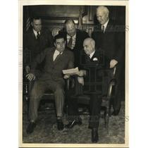 1934 Press Photo San Francisco Mayor Angelo Rossi, Labor leaders Joseph Ryan