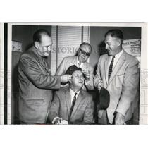 1956 Press Photo Cubs front office Bob Sheffing, John Holland, Clarence Rowland