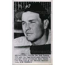 1951 Press Photo NY Yankees send pitcher Joe Page to Kansas City farm club
