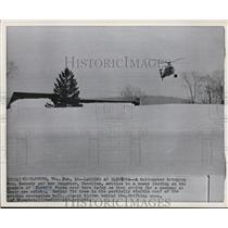 1961 Wire Photo Helicopter with Mrs. Kennedy & Caroline set in Glenora Farms
