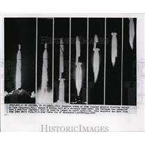 1957 Wire Photo The sequence of Army Jupiter missile launching during test