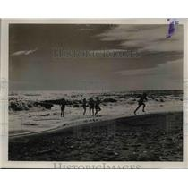 1939 Press Photo Children Play in Beach Surf in Nome Alaska - nee78708