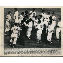 1949 Press Photo Indian Lou Boudreau hit by pitch of Red Sox at Boston game