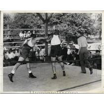 1936 Press Photo Jack Sharkey & sparring partner training for Joe Louis bout