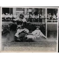 1948 Press Photo Dodger Ed Stankey dodges sliding Cubs Stan Hack at 2nd