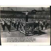 1942 Wire Photo The Ohio Penitentiary defense legion during the exercise time