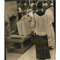 1925 Press Photo Bishop Schrembs places stone for St. James' Church - cva87108